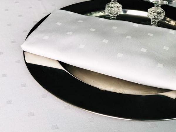 Damast-Serviette Gastro, weiß, mit festlichem Muster 50x50