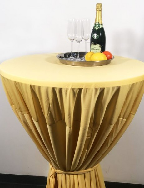 Gastro-Stehtischhusse mit Bindeschal gelb