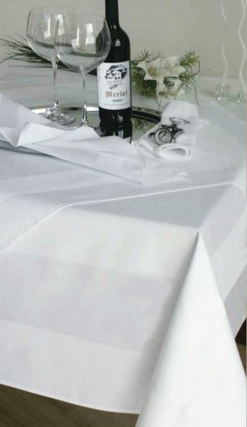 Gastronomy tablecloth, white, with satin band 130x130
