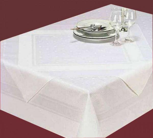 Damast-Tischdecke, weiß, mit Atlaskante und Tupfen 80x80