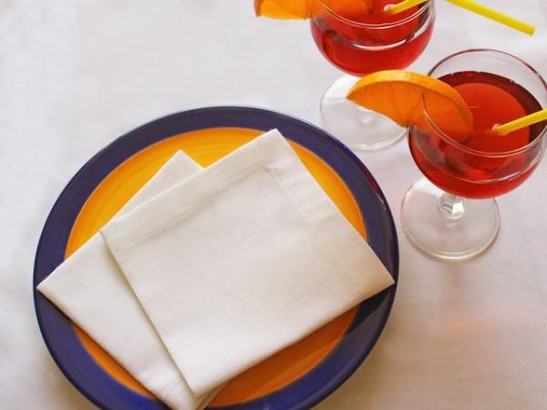 Cocktailservietten aus Halbleinen, weiß, 25x25