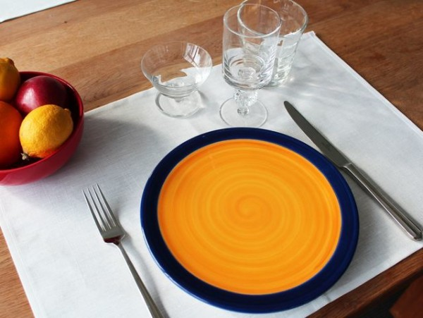 Halbleinen-Tischset / Platzset, weiß, ohne Muster, 35x50