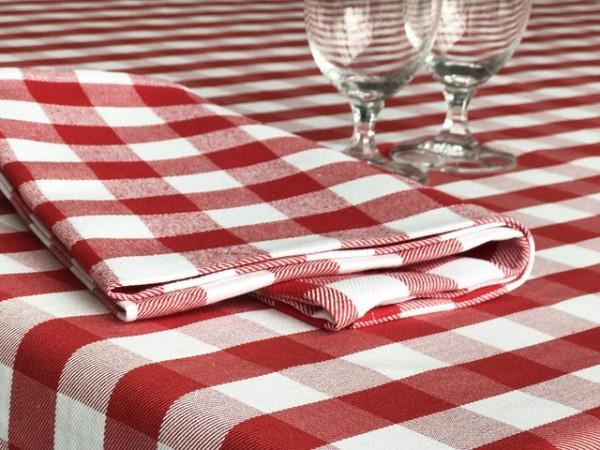 Gastro-Serviette rot-weiß kariert, 50x50