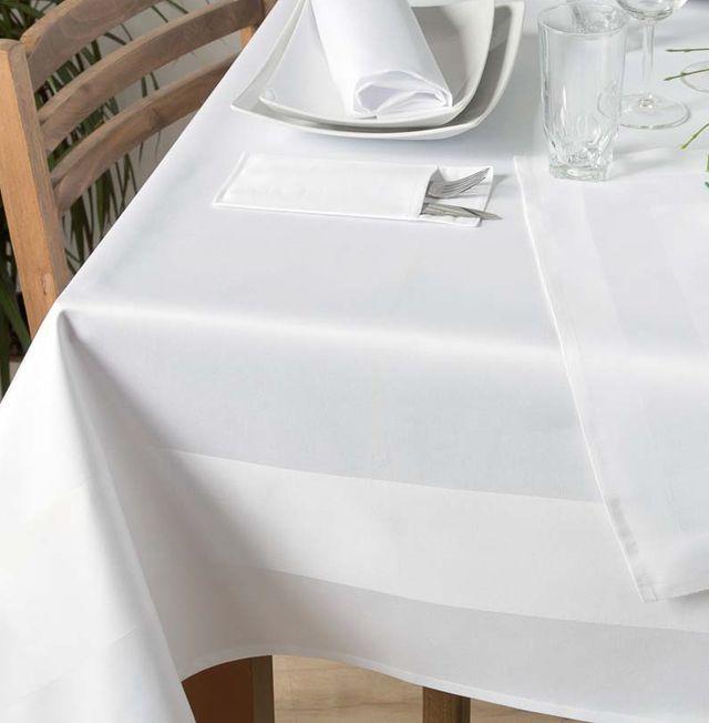 Weiß Rund 160 cm Tischwäsche Vollzwirn Baumwolle Gastronomie Hotel Tischdecke
