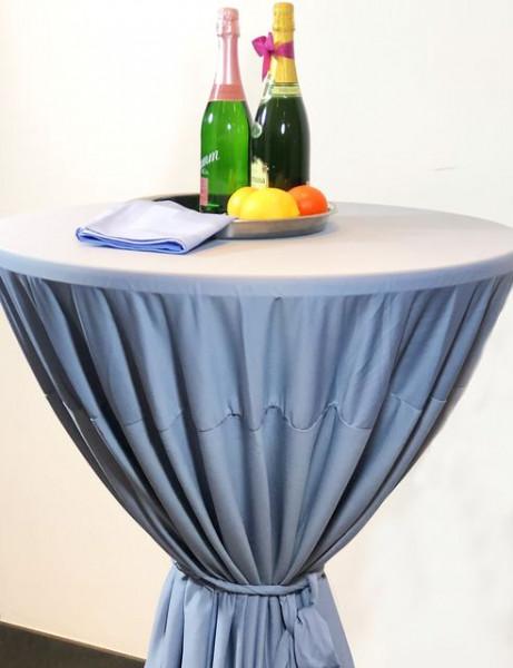 Gastro-Stehtischhusse mit Bindeschal hellblau