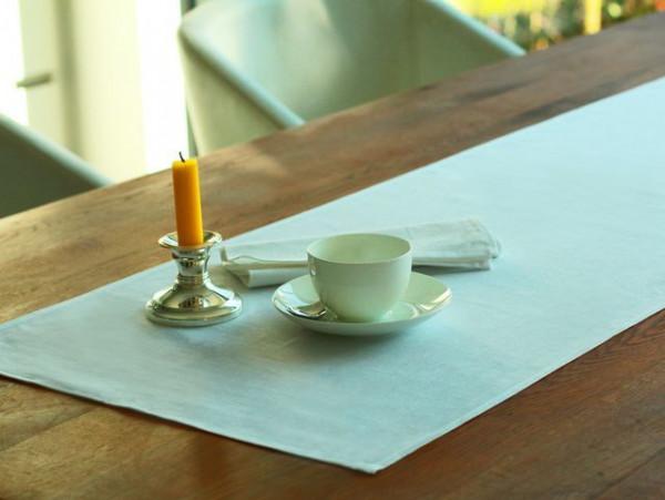 Halbleinen-Tischläufer, weiß, ohne Muster, 45x160