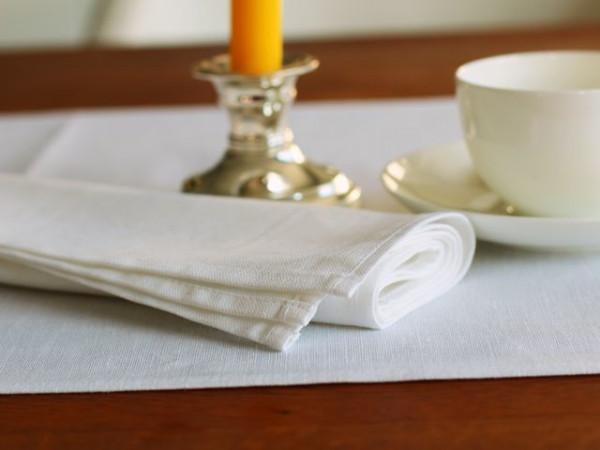 Halbleinen-Serviette, weiß, ohne Muster 50x50