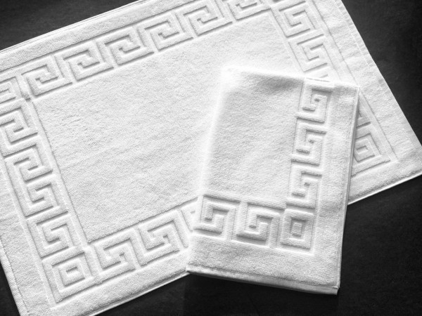 Hotel bath mat, twisted terry, meander pattern, white, 50x75 cm