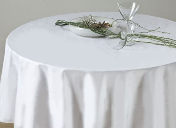 Gastronomy tablecloth, round, white, without pattern, Ø 130