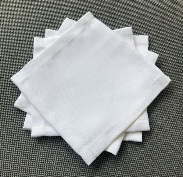 Cocktail napkin / coaster white, 12x12 cm
