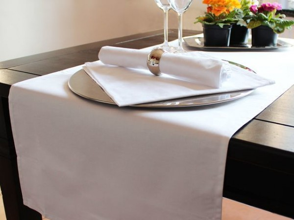 Gastro-Tischläufer, weiß, ohne Muster, 50x130